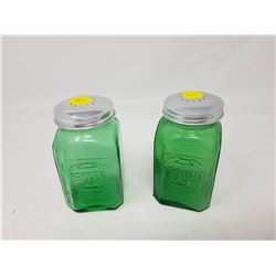 GREEN SALT AND PEPPER SHAKERS