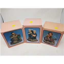 "LOT OF 3 FIGURINES (BOXES ARE 5"" X 4""--6"" X 5"")"