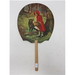 ANTIQUE SINGER HAND FAN (RED RIDING HOOD ON FRONT)