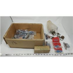 LOT OF ASSORTED HINGES, DRAWER PULLS, STUD DRIVERS, ETC.