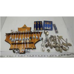 LOT OF SPOONS WITH DISPLAY RACK (SOME ROYALTY SPOONS)