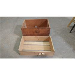"""TWO WOODEN CRATES (19.5"""" X 12.5"""" X 11""""--20"""" X 12.5"""" X 5.5"""")"""