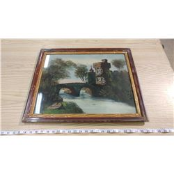 LOT OF THREE REVERSE PAINTING PICTURES (SOME DAMAGE)