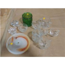 ASSORTED GLASSWARE (CANDLE HOLDERS, CUPS, ETC.)