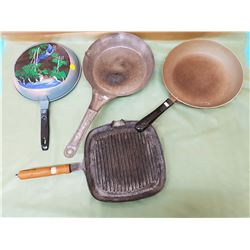 FOUR FRYING PANS (1 WITH PICTURE ON BACK)