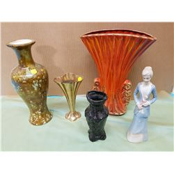 FOUR VASES AND FIGURINE