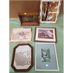 LOT OF SIX SMALL PICTURES (NATURE SCENES, ETC.)