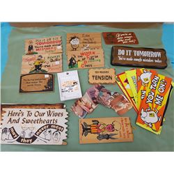 LOT OF NOVELTY SAYINGS AND BOUDOIR PHOTOS