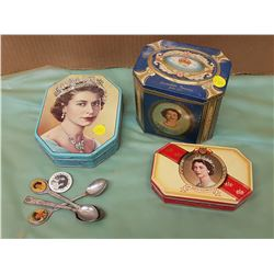 THREE ROYALTY TINS AND BUTTONS