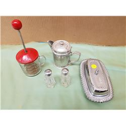 LOT OF ASSORTED ITEMS (SILVER PLATED BUTTER DISH, SALT & PEPPER SHAKERS, ETC.)