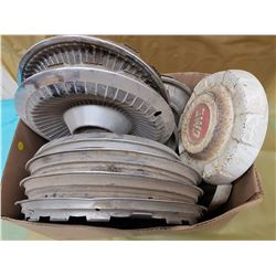 BOX OF ASSORTED HUBCAPS