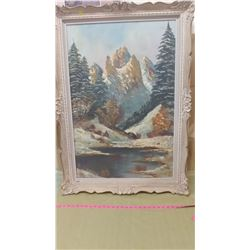 """MOUNTAINS AND TREES PICTURES (30.5"""" X 42"""" X 2"""") *SOME CRACKS IN FRAME*"""