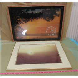 "TWO SUNSET PICTURES (UNKNOWN IF CLOCK WORKS) *CRACK IN GLASS ON 1* (26"" X 22""--29"" X 21"")"