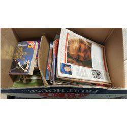 BOX OF ASSORTED MAGAZINES AND BOOKS (LOTS OF ROYALTY)