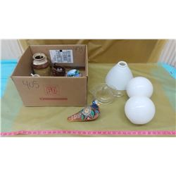 "LOT OF COLLECTIBLES INCLUDING MILK GLASS LIGHT SHADES (ROUND SHADES 3"", OTHER SHADE 8"")"