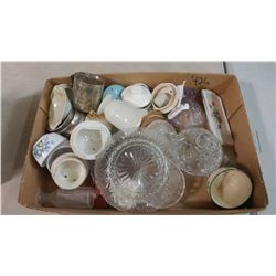 LOT OF GLASS ITEMS-BUTTER DISH, LIDS, ETC.