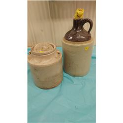 PICKLE CROCK AND 1 GALLON WHISKEY JUG (BOTH CRACKED)