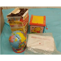 LOT OF COLLECTIBLES INCLUDING GLOBE BANK, JACK-IN-THE-BOX, ETC.