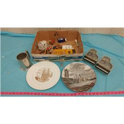 LOT OF COLLECTIBLES INCLUDING PLATES, STEIN, MUSICAL PIANO, ETC.