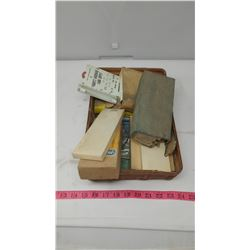 LOT OF ASSORTED ITEMS INCLUDING VINTAGE VET SUPPLIES, RAIN GAUGE, THERMOMETER, ETC.