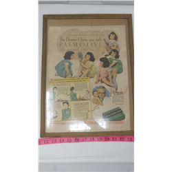 PALMOLIVE ADVERTISING WITH DIONNE QUINTS (PICTURE AND FRAME)