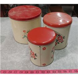 THREE PIECE MISMATCHED CANNISTER SET