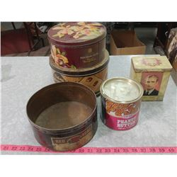 LOT OF ASSORTED TINS (RED ROSE COFFEE, PEEK FREAN & CO., CO-OP PEANUT BUTTER, ETC.)