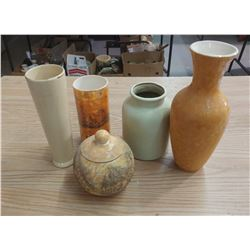 FOUR VASES AND JAR WITH LID