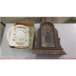 GINGERBREAD CLOCK-FOR PARTS, AS IS AND OTHER CLOCK PIECES