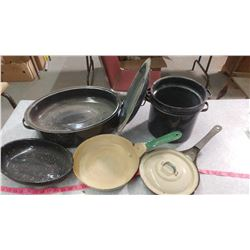 ROASTER, DOUBLE BOILER WITH NO LID, FRYING PANS, LIDS, ETC.