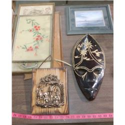 ASSORTED SERVING TRAYS, PICTURES AND MASK