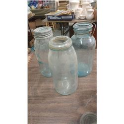 TWO CROWN JARS AND ONE PERFECT SEAL JAR (TURNING BLUE)