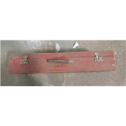 VINTAGE WOODEN BOX WITH ICE AUGER