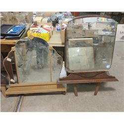 """TWO MIRROR WITH FRAMES-32"""" X 34"""" & 32"""" X 42"""" (MIRROR PIECE MISSING ON 1 SIDE)"""