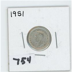 1951- CANADIAN TEN CENTS
