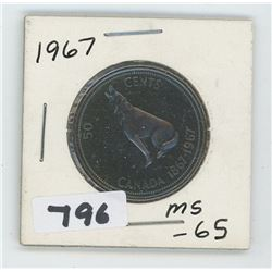 1967 MS-65 CANADIAN 50 CENTS