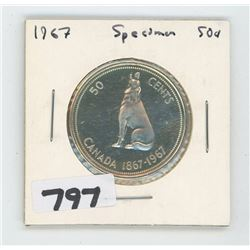 1967 SPECIMEN CANADIAN 50 CENTS