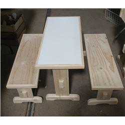 """KIDS TABLE WITH 2 BENCHES (30.25"""" X 14.5"""" X 20""""--30.25"""" X 10"""" X 11.5"""")"""