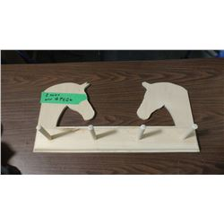 """TWO HORSE HEAD BOARD WITH 4 PEGS (11"""" X 22.5"""")"""
