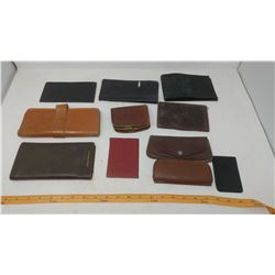 LOT OF LEATHER WALLETS, GLASS CASES, ETC.