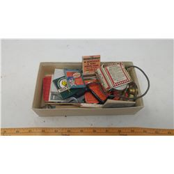 LOT OF COLLECTIBLES (VOLTMETER, BOTTLE OPENER, ASSORTED ADVERTISING MATCH BOOKS)