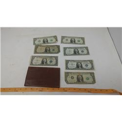 LEATHER WALLET WITH SEVEN AMERICAN $1 BILLS