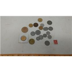 LOT OF ASSORTED COINS, SOME FOREGIN (RCMP QUARTERS, LOONIES, ETC.)