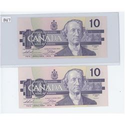 (2) 1984 $10.00 BILLS IN SEQUENCE