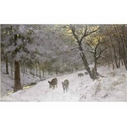 Olgyay, Ferenc     Jászberény, 1872 - Budapest, 1939     Wintry Wood with Wild Boars