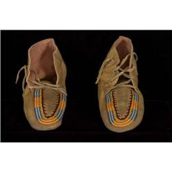 "Pair of Beaded Moccasins 10"" Sole Good"