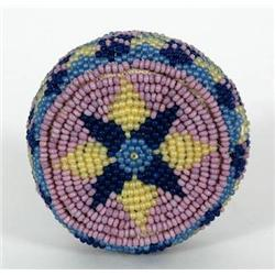"Paiute Beaded Basket 2 1/4"" D. 1 1/4"" H"