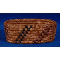 "Fully Imbricated Cedar Basket 7"" L. 5"""