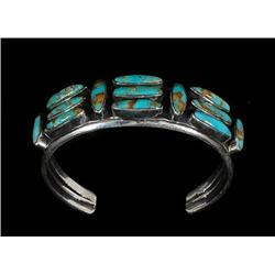 Navajo Silver and Turquoise Bracelet 6