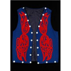 Ron LaRochell Applique Vest with Raven